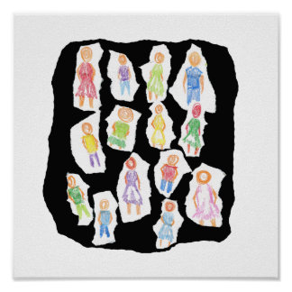 People Colorful Figures Drawing Torn paper against Print
