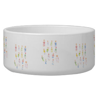 People Colorful Figures Drawing Torn paper clear b Dog Bowls
