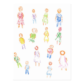 People Colorful Figures Drawing Torn paper clear b Postcards
