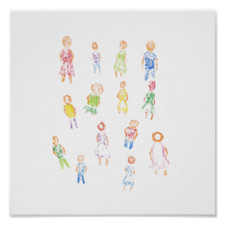 People Colorful Figures Drawing Torn paper clear b Print