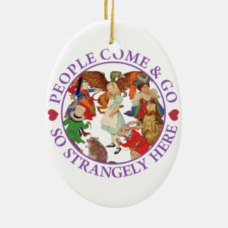 People Come and Go So Strangely Here - Purple Double-Sided Oval Ceramic Christmas Ornament