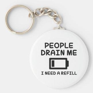 People Drain Me Keychain