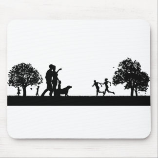 People Enjoying the Outdoors Park Silhouettes Mouse Pad