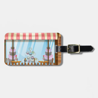 People hanging out at the bakery shop luggage tag