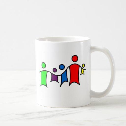 People holding hands mugs