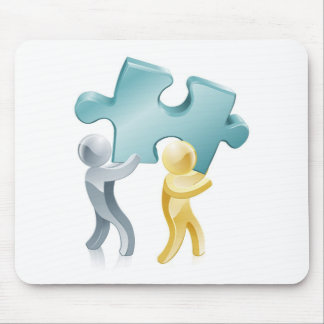 People holding jigsaw piece mouse mat