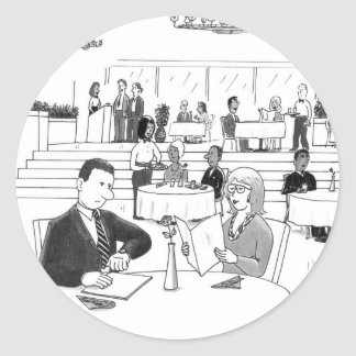 People in a Busy Restaurant Round Sticker