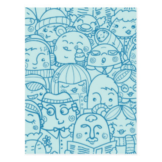 People in a crowd pattern postcard