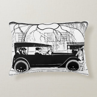 People in an old car accent pillow
