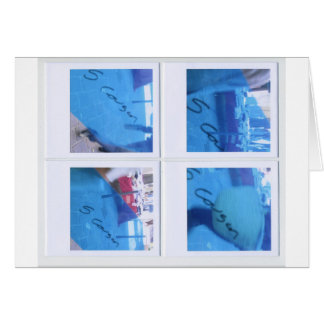 People in blue #1 (interior/exterior) greeting card