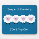 People In Recovery Flock Together Cute Sheep Blue Mouse Pad