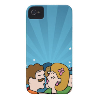 People Kissing and Hugging Cartoon iPhone 4 Case-Mate Cases