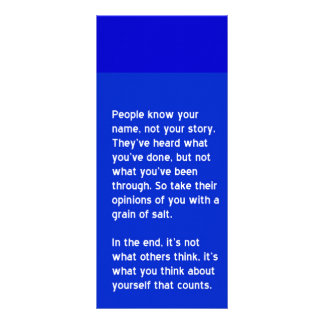 PEOPLE KNOW YOUR NAME NOT YOUR STORY motivational Rack Card Design