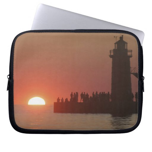 People lighthouse sunset silhouette at South Computer Sleeve
