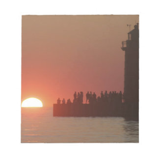 People lighthouse sunset silhouette at South Memo Note Pad