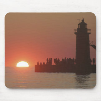 People lighthouse sunset silhouette at South Mouse Pad