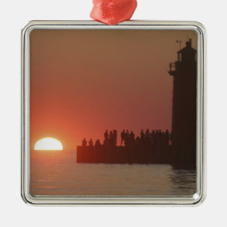 People lighthouse sunset silhouette at South Christmas Ornaments