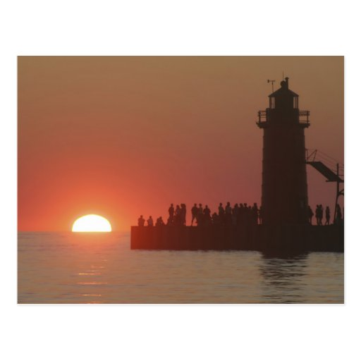 People lighthouse sunset silhouette at South Postcard