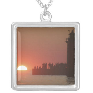 People lighthouse sunset silhouette at South Square Pendant Necklace