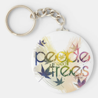 People need trees basic round button keychain