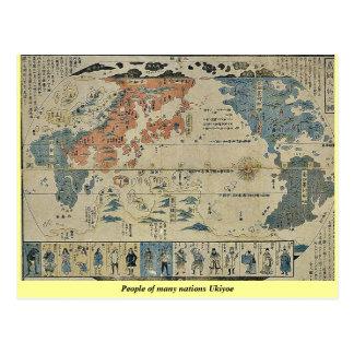People of many nations Ukiyoe Postcards