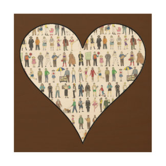 People of New York City NYC Heart Wood Wall Art