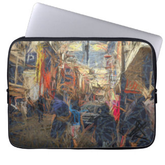 People on a city road computer sleeve