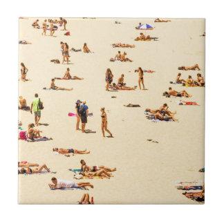 People On Beach Sandy Ceramic Tile