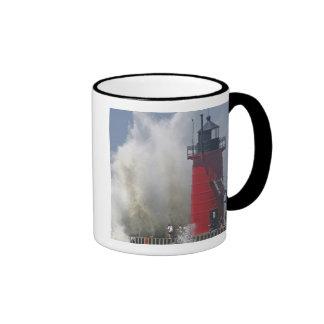 People on jetty watch large breaking waves in ringer coffee mug