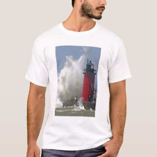 People on jetty watch large breaking waves in T-Shirt