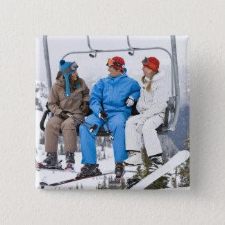 People on Ski Lift, Whistler-Blackcomb, British Button