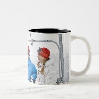 People on Ski Lift, Whistler-Blackcomb, British Two-Tone Coffee Mug