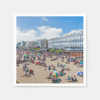 People on the beach in Eastbourne Paper Napkin