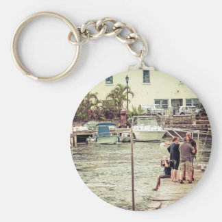 People on the pier 1 keychain