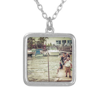 People on the pier 2 silver plated necklace