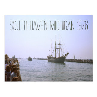 People Pier South Haven Michigan Tall Ship 1976 Postcard