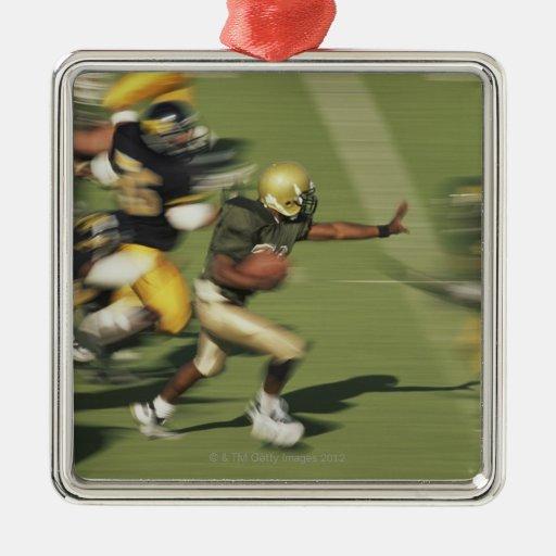 People playing football square metal christmas ornament