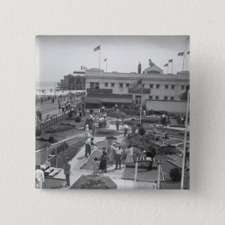 People playing mini golf elevated view B&W Button