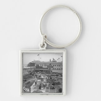 People playing mini golf elevated view B&W Keychain
