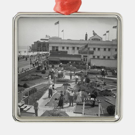 People playing mini golf elevated view B&W Metal Ornament