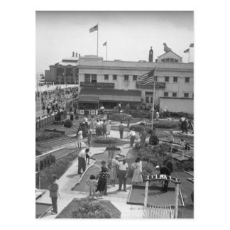 People playing mini golf elevated view B&W Postcard