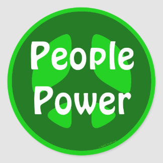 People Power Green Peace Sign Stickers