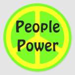 People Power Yellow Peace Sign Sticker