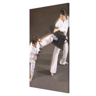 People practicing Tae kwon do Canvas Print