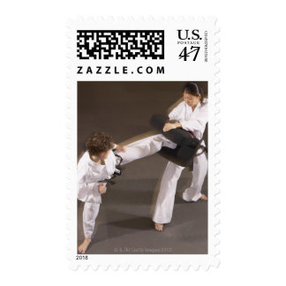 People practicing Tae kwon do Postage