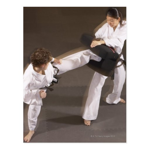 People practicing Tae kwon do Post Cards
