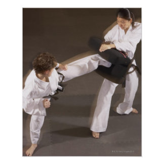 People practicing Tae kwon do Poster