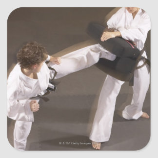 People practicing Tae kwon do Square Sticker