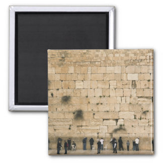 People praying at the wailing wall 2 inch square magnet