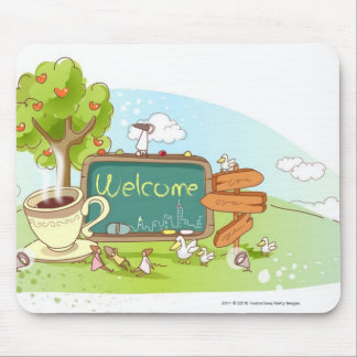 People relaxing by information sign with tea cup mouse pad
